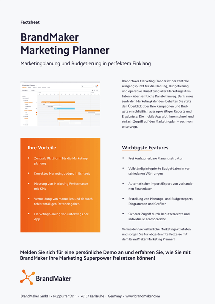 BrandMaker Product Factsheet Marketing Planner