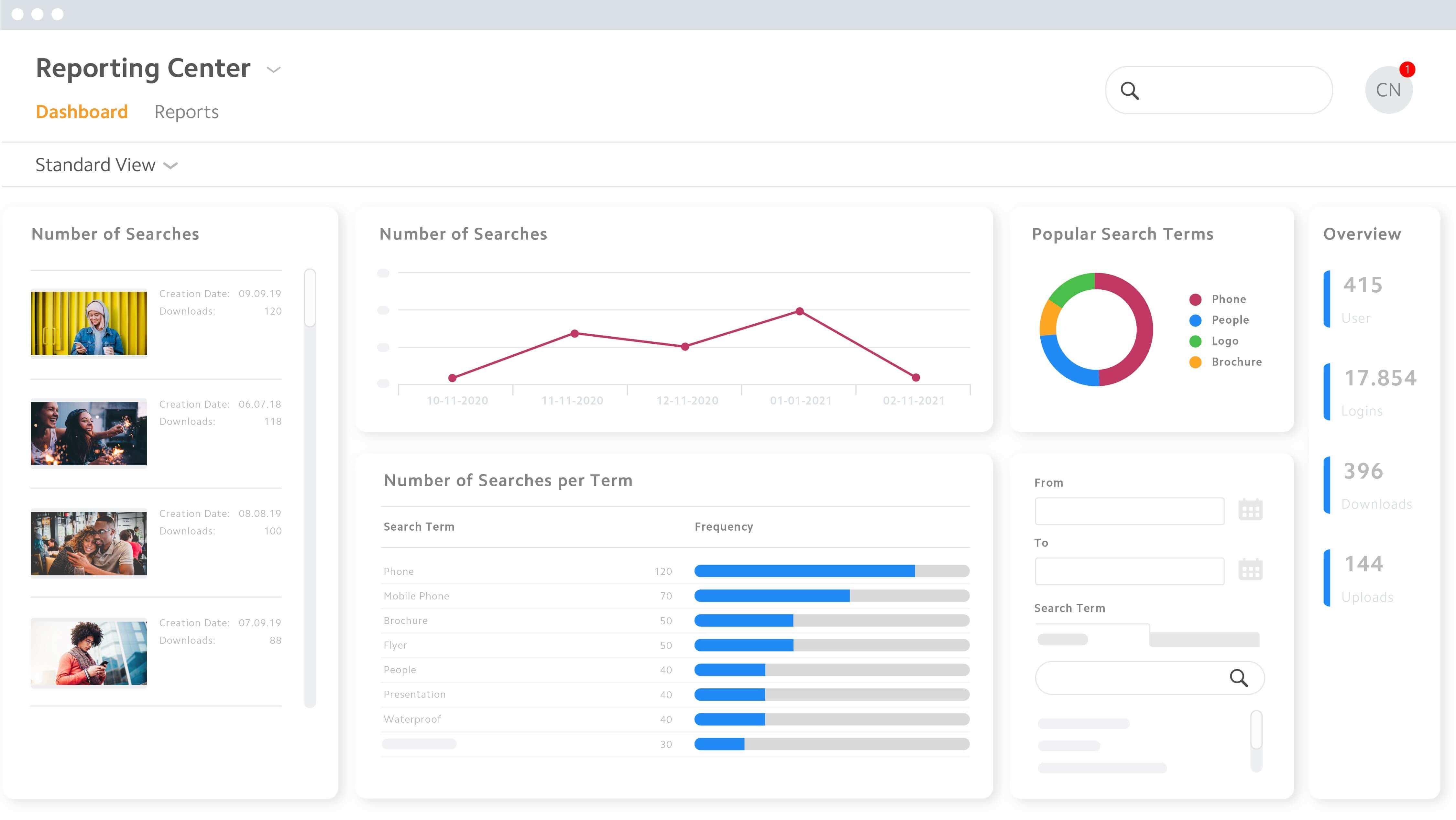 Reporting Center Digital Asset Manager Dashboard