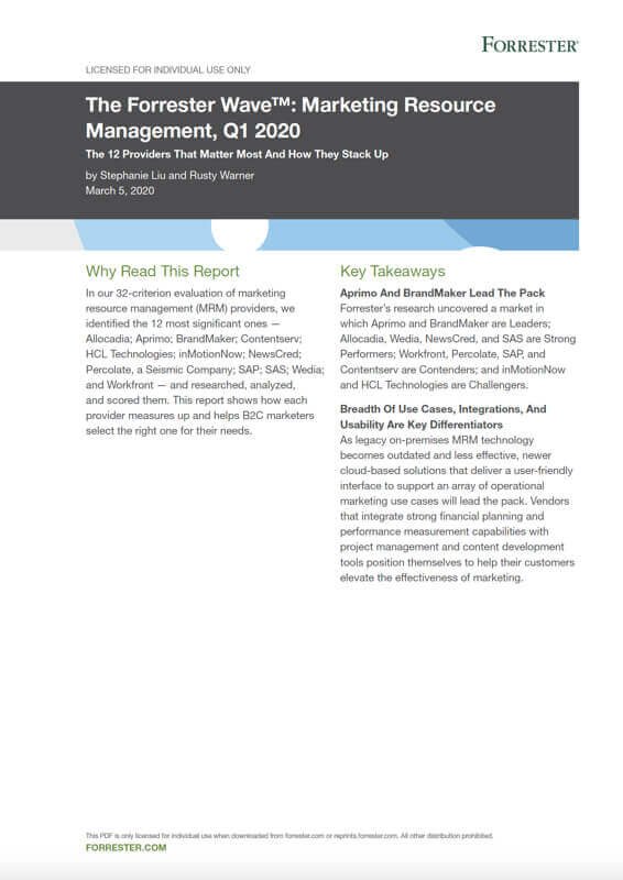 Forrester Wave Report MRM Marketing Resource Management