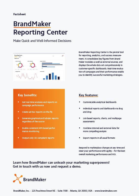 BrandMaker Product Factsheet Reporting Center EN